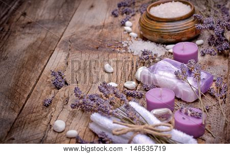 Spa treatment for your health and pleasure - lavender soap, scented salt and spa stones