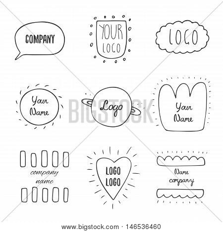 Trendy hand drawn doodle hipster logotypes collection with dialog bubble cloud sun planet saturn heart abstract elements. Hipster logos collection