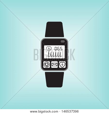 Heart pulse sign at smart watch icon. Illustration of heart pulse monitoring application. Smart watch isolated sign. Heart beat logo.