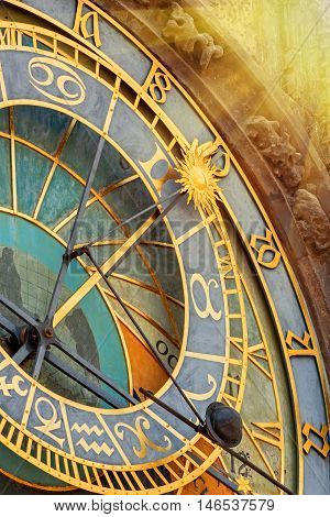 Prague Astronomical Clock Orloj in Old Town of Prague closeup. Toned