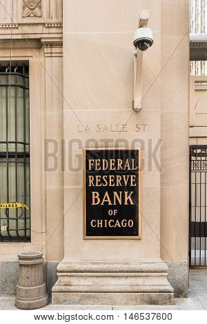 Chicago, USA - May 30, 2016: Federal Reserve sign, logo and text with La Salle street