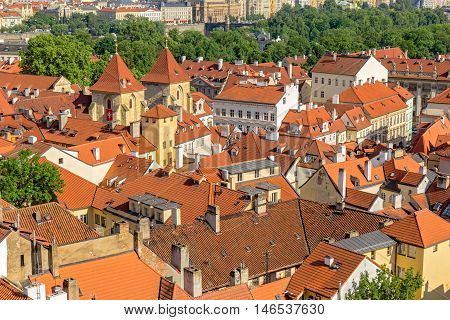 Red roofs near Prague old center view from the top