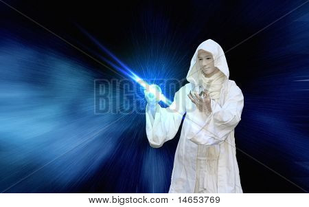White Wizard manipulating Crystal balls