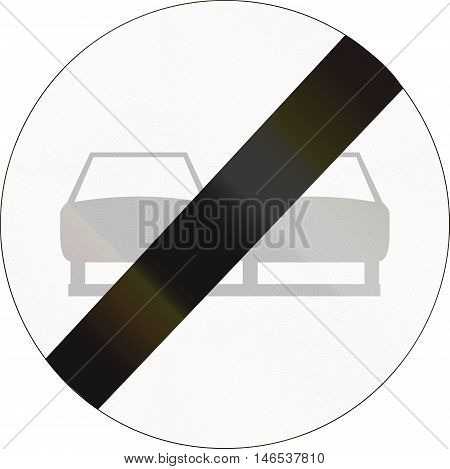 Belgian Regulatory Road Sign - End Of No Overtaking