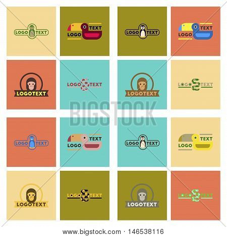 assembly of flat icons nature logo bear lion giraffe penguin snake monkey bird bull. Vector.