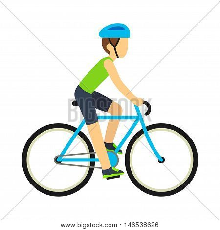 Young racing bicyclist man with bike isolated on white background in flat style