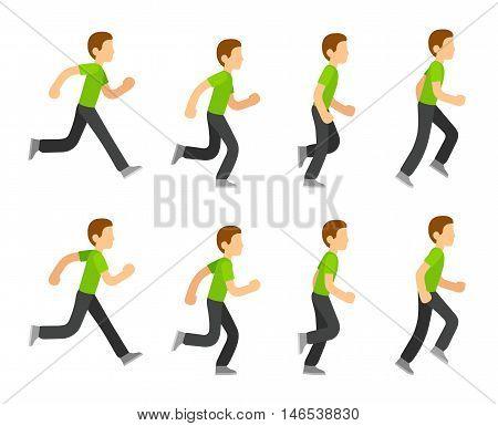 Running man animation 8 frame sequence. Flat cartoon style vector illustration.