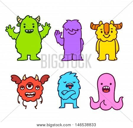 Cute cartoon funny monsters. Hand drawn characters vector illustration set.