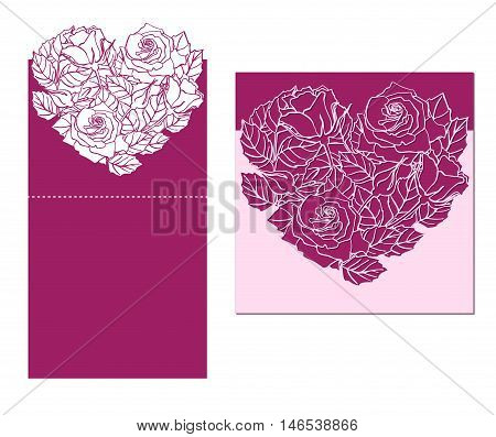 Laser cut vector card temlate with rose heart ornament. Cutout pattern silhouette with flower and leaves. Die cut paper element for wedding invitations save the date greeting card. Cutting panel