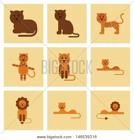 assembly of flat icons nature cartoon tiger lion panther leopard. Vector.