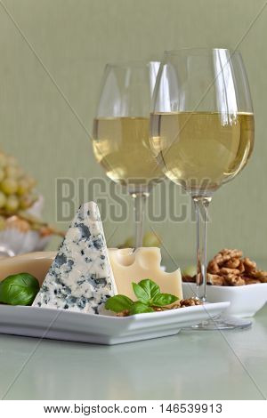 Cheese With Fruits And Wine