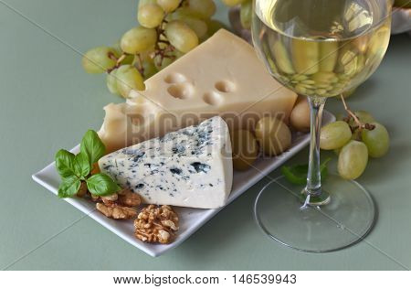 Cheese With Nuts And Wine
