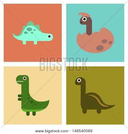 assembly of flat icons archeology cartoon dinosaur