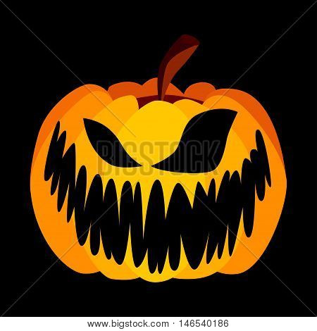 Isolated Vector Yellow Orange Festive Scary Halloween Pumpkin with a Scary Jack Face on Black Background, Spooky Single Icon