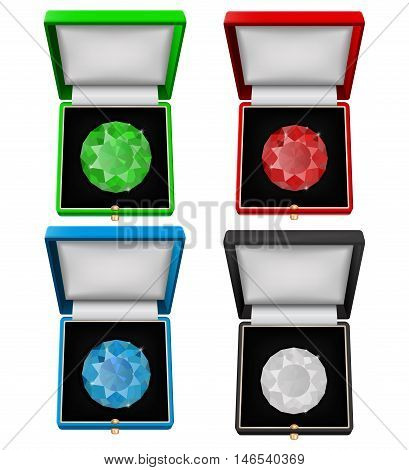 Gems in jewelry gift boxes - diamond emerald sapphire and ruby. Vector illustration isolated on white background.