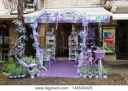 Sirmione Italy - May 09 2016: Lavender wedding arch in the gift shop of the city