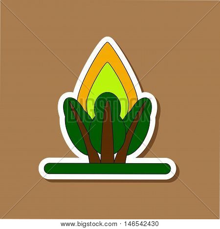 paper sticker on stylish background of fire in the forest