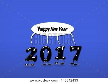 Cartoon of 2017 numerals with speech buble with text Happy New Year on blue background. 3d rendering.
