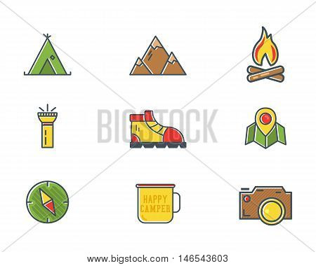 Summer and winter mountain explorer camp icons in flat style. Travel, hiking, climbing pictograms. Bright color design. Best for outdoor adventure sites, tee, t shirt prints etc. Isolated vector