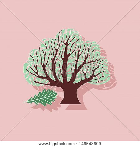 paper sticker on stylish background of plant Quercus
