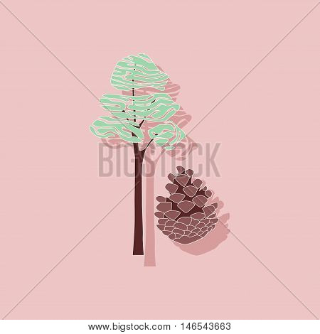 paper sticker on stylish background of plant Pinus