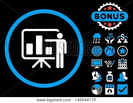 Bar Chart Presentation icon with bonus. Vector illustration style is flat iconic bicolor symbols, blue and white colors, black background.