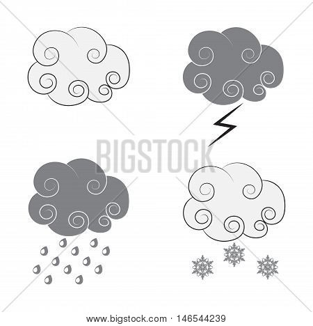 the drawing of clouds in animated styles black and gray icons for weather