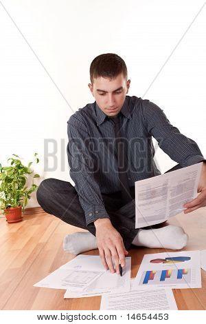 Businessmen Working On Floor