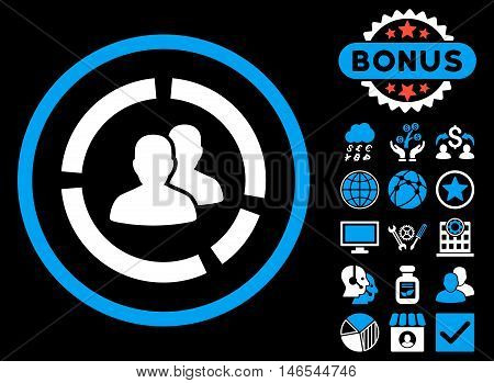 Demography Diagram icon with bonus. Vector illustration style is flat iconic bicolor symbols, blue and white colors, black background.
