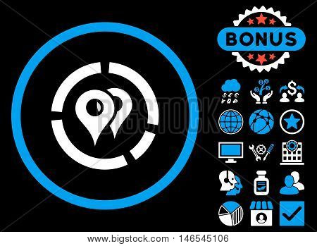 Geo Diagram icon with bonus. Vector illustration style is flat iconic bicolor symbols, blue and white colors, black background.