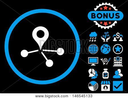 Geo Network icon with bonus. Vector illustration style is flat iconic bicolor symbols, blue and white colors, black background.