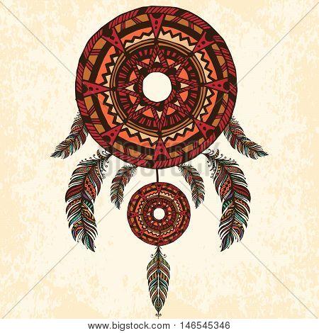 Ethnic dreamcatcher, feathers. Hand drawn vector illustration