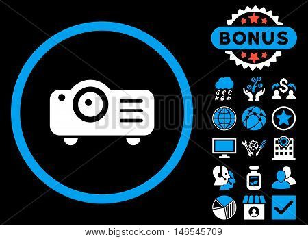 Projector icon with bonus. Vector illustration style is flat iconic bicolor symbols, blue and white colors, black background.