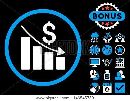 Recession Chart icon with bonus. Vector illustration style is flat iconic bicolor symbols, blue and white colors, black background.