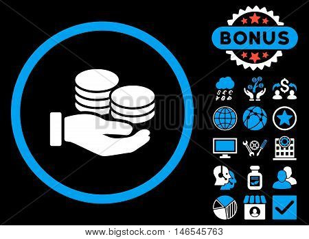 Salary Coins icon with bonus. Vector illustration style is flat iconic bicolor symbols, blue and white colors, black background.