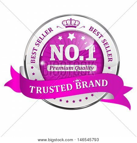 Trusted brand, best seller, Number one, premium quality - shiny golden pink icon / ribbon for retail companies