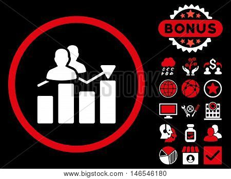 Audience Graph icon with bonus. Vector illustration style is flat iconic bicolor symbols, red and white colors, black background.