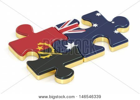 Angola and Australia puzzles from flags 3D rendering