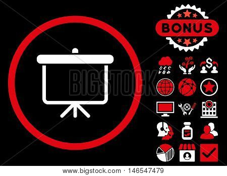 Projection Board icon with bonus. Vector illustration style is flat iconic bicolor symbols, red and white colors, black background.