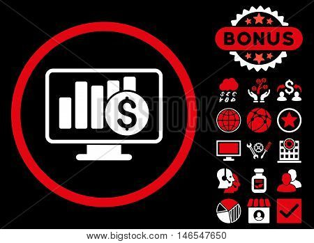 Sales Monitor icon with bonus. Vector illustration style is flat iconic bicolor symbols, red and white colors, black background.