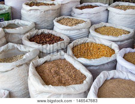 Sacks of grain and cereals in bulk.