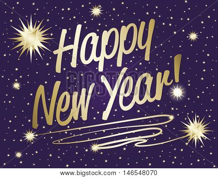 Happy New Year-Happy New Year text in gold gradient with sparkle stars on purple night background