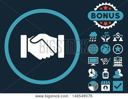 Acquisition Handshake icon with bonus. Vector illustration style is flat iconic bicolor symbols, blue and white colors, dark blue background.