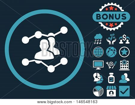 Audience Trends icon with bonus. Vector illustration style is flat iconic bicolor symbols, blue and white colors, dark blue background.