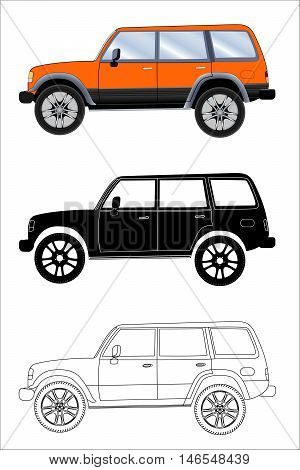 Different kind off-road vehicle on a white background: colored black silhouette contour. Vector illustration