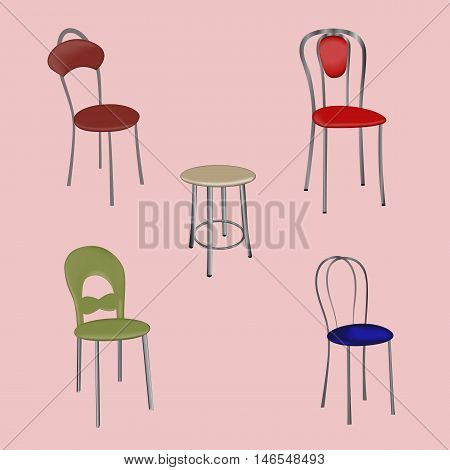 Vector illustration of a group of detached modern design chairs on a pink background