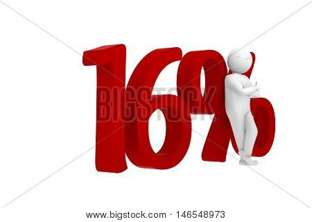 3D Human Leans Against A Red 16%