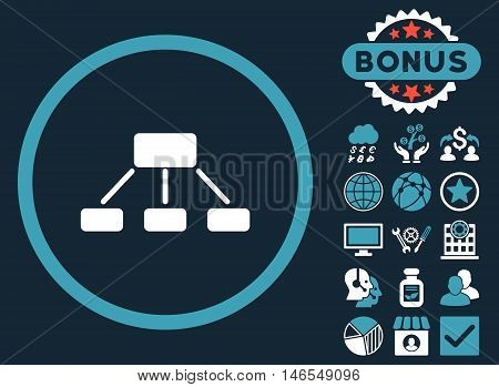 Hierarchy icon with bonus. Vector illustration style is flat iconic bicolor symbols, blue and white colors, dark blue background.