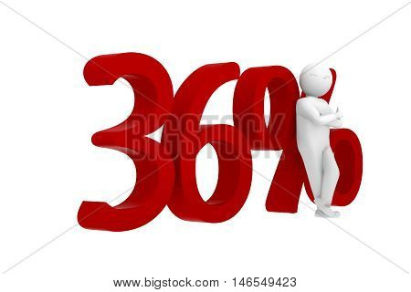 3D Human Leans Against A Red 36%