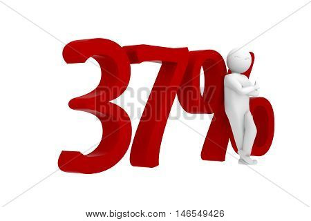 3D Human Leans Against A Red 37%